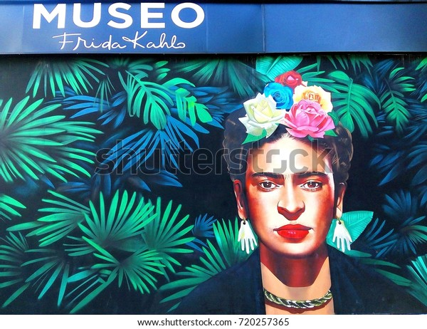 PLAYA DEL CARMEN, MEXICO – SEPTEMBER 22, 2017: Entrance to Museo Frida Kahlo – museum and restaurant dedicated to Frida Kahlo, famous Mexican painter, in Playa del Carmen, Riviera Maya, Mexico
