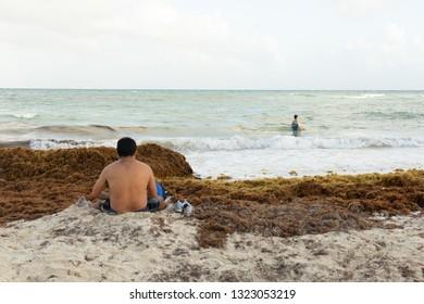 PLAYA DEL CARMEN, QUINTANA ROO/ MEXICO - FEB 23, 2019. Tourist at the beach with sargassum algae