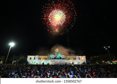 Playa del Carmen, Quintana Roo, Mexico 15 september 2017. Fireworks red. Municipal Building Playa del Carmen Mexico. Night show.