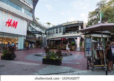 PLAYA DEL CARMEN-QUINTANA ROO-MEXICO-NOVEMBER-2019: Galeria Corazon Shopping Center, which has many famous and renowned brand stores.