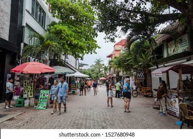 PLAYA DEL CARMEN-QUINTANA ROO-MEXICO-OCTOBER-2019: Foreign and local tourists stroll along the famous 5th Avenue, which is several kilometers long and has bars, restaurants and hotels.