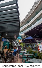 PLAYA DEL CARMEN-QUINTANA ROO-MEXICO-OCTOBER-2019: Galeria corazon shopping plaza located on 5th avenue and Corazon alley, hence the name of the square.