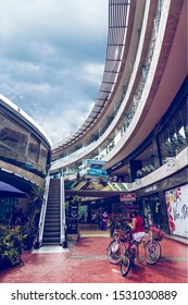 PLAYA DEL CARMEN-QUINTANA ROO-MEXICO-OCTOBER-2019: View of the galeria corazon shopping plaza where bicycles are located where tourists and locals can take pictures for their memories.