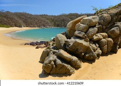 Playa del Organo beach in Huatulco, Oaxaca state, Mexico.