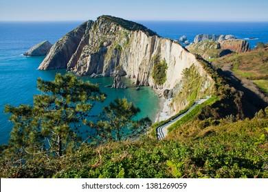 Playa del Silencio, Cudillero, Asturias, Spain -  beautiful natural cost with cliffs, islands and wild beach.