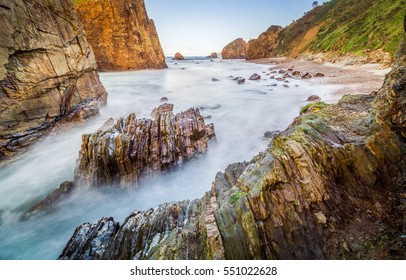 The Playa del Silencio (Silence Beach) is one of the most beautiful beaches in Asturias, Spain, with interesting rock formations.