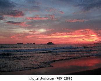 Playa El Palmar. Beautiful sunset in Ixtapa-Zihuatanejo