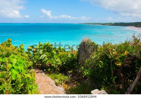 Playa Esmeralda, Holguin, Cuba: Beautiful landscape with the Caribbean sea turquoise.