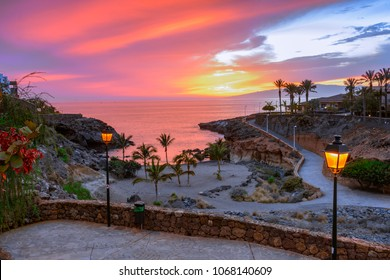 Playa Paraiso, Tenerife, Canary islands, Spain: Beautiful sunset on Playa Las Galgas