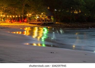 Playa Redonda, Nicaragua - January 21: Colorful lights in the outdoor restaurant and bar. January 21 2018, Playa Redonda, Nicaragua