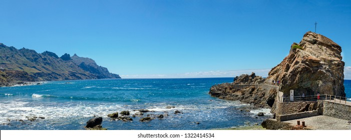 Playa Roque de las Bodegas (Roque de las Bodegas beach)  is located in zona de Taganana, at the foot of the cliffs of the Anaga mountain in Tenerife, Canary Islands, Spain.