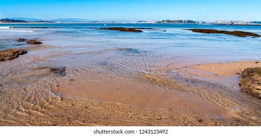 Playa Somo and the view of Santander, Cantabria, Spain.