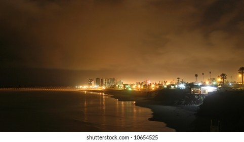 Playas de Rosarito at night, is a city in the Mexican state of Baja California located approximately 35 minutes south of the U.S. border in Tijuana.
