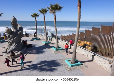 PLAYAS DE TIJUANA, MEXICO - JANUARY 28, 2017: The north west corner of Mexico features a beach park next to the border fence separating Mexico from the United States in Playas de Tijuana.
