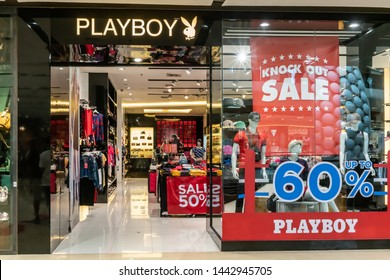 Playboy shop at Central LadPrao Bangkok, Thailand, June 23, 2019 : Casual Fashionable clothing and accessories. A shoot of shop interior and display.