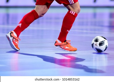Player controls the ball during the UEFA European Futsal Championship 2018 match between Russia and Poland at Arena Stozice in Ljubljana, Slovenia on January 30, 2018.Photo: Jure Makovec