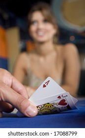 Player hand revealing Blackjack - Ace and jack