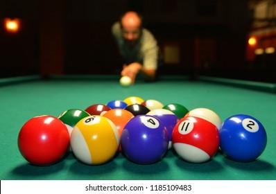 Player is kicking off Pool Billards
