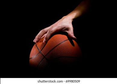 Player plays with a basketball