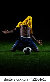 Player with a soccer ball on the field