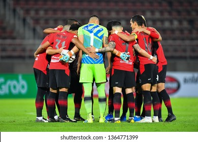 Players of Bangkok United in action during The Football Thai League between Bangkok United and SCG Muangthong United at True Stadium on March 02,2019 in Pathum Thani, Thailand