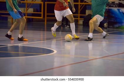Players in futsal hall