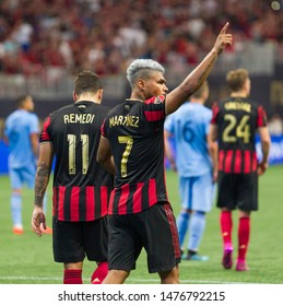 Players on field - MLS match between New York City FC and Atlanta United FC on August 11th 2019 at the Mercedes Benz Stadium in Atlanta GA - USA