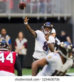 Players on field - NFL - December 2nd 2018 Atlanta Falcons Vs. Baltimore Ravens at the Mercedes Benz Stadium in Atlanta Georgia USA