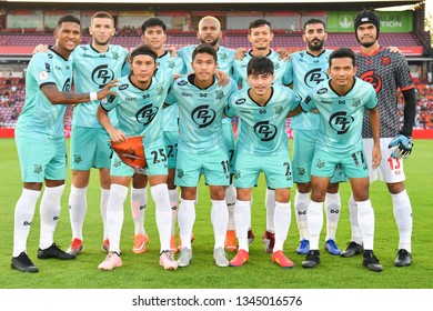 Players of PT Prachuap F.C. shot photo during The Football Thai League match between SCG Muangthong United and PT Prachuap F.C.at SCG Stadium on February24,2019 in Nonthaburi, Thailand