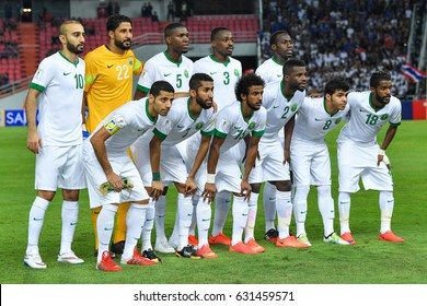 Players of Saudi Arabia shot photo during 2018 FIFA World Cup Qualifier Group B between Thailand and Saudi Arabia at the Rajamangala Stadium on March 23, 2017 in Bangkok,Thailand,