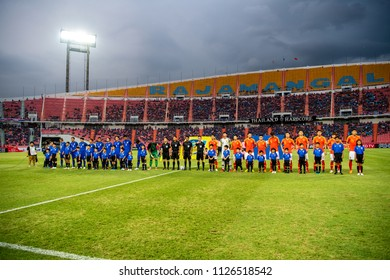 Players of Thailand Blue in action during 2018The International Friendly Match between Thailand and China at the Rajamangala Stadium on June 2, 2018 in Bangkok,Thailand,