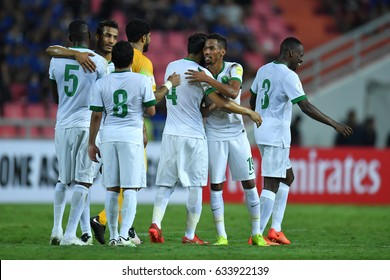 Players (white) of Saudi Arabia in action during 2018 FIFA World Cup Qualifier between Thailand and Saudi Arabia at the Rajamangala Stadium on March 23, 2017 in Bangkok,Thailand,