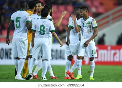 Players (white) of Saudi Arabia of Thailand in action during 2018 FIFA World Cup Qualifier between Thailand and Saudi Arabia at the Rajamangala Stadium on March 23, 2017 in Bangkok,Thailand,