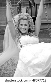 Playful Bride on a Swing
