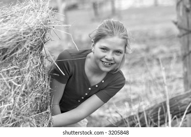 playful farm girl