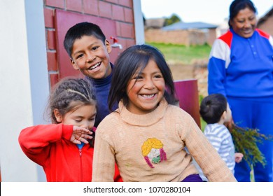 Playful native american children in the countryside.