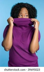 Playful Winter Woman Wearing Turtleneck