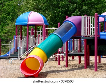 Children's playground with beautiful slides and exercise setting