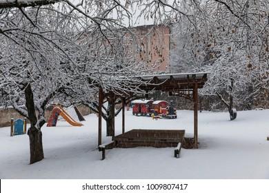 playground, Cavalese, Val di Fiemme, Trentino Alto Adige, Italy, Europe