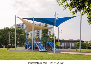 A playground for children with shade cover