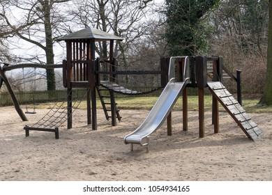 Playground for children with slide and climbing frame