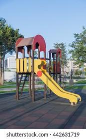 Playground / Colorful children playground equipment in the park