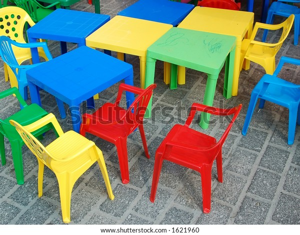 Fantastic Playground Colorful Plastic Kid Chairs Tables Stock Photo Gmtry Best Dining Table And Chair Ideas Images Gmtryco