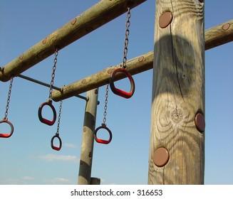 Playground equipment - red rings