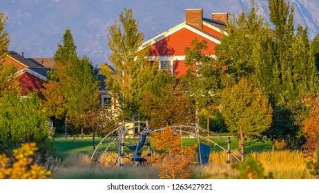 Playground and homes in sunny Daybreak Utah