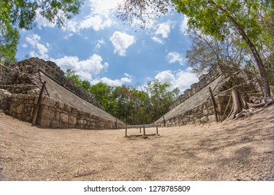 Playground of the Mayans to play ball game in Coba, Mexico