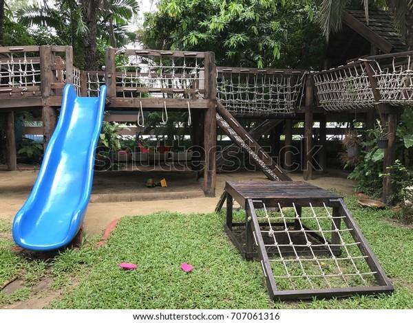 Playground Montessori School Blue Slider Sand Stock Photo Edit Now