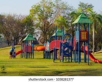 playground on field grass in park
