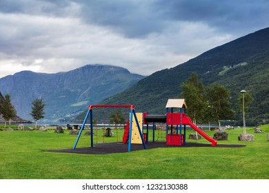 playground in the park on the shore of the fjord, Norway