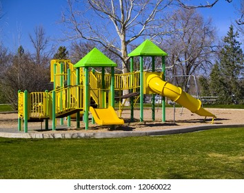 Playground in a park as spring returns.